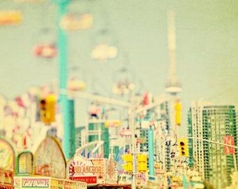 Carnival Photography, Carnival Rides, Dreamy, Pastels, Nursery Decor, Kids Room, Yellow Green, Toronto, CN Tower - CNE