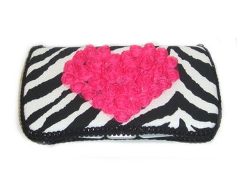 Black and white zebra animal print baby wipes case with Hot pink chiffon heart baby shower gift baby girl gift