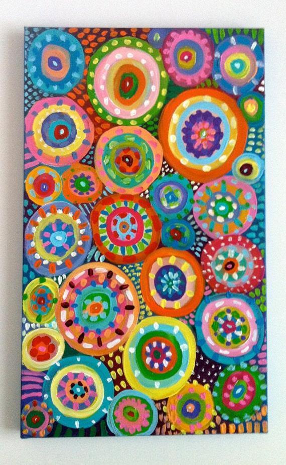 Pittura astratta cerchi originale astratto acrilico di for Abstraction geometrique peinture