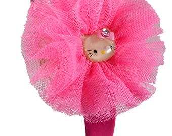 Pink Kitty Girls Organza Headband