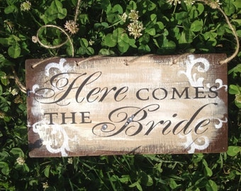 Rustic, Here Comes the Bride, ring bearer sign