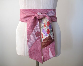 Obi Belt in Dusty Rose Japanese Shibori Fabric by ccdoodle on etsy