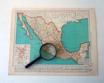 Vintage 1940 Map of Mexico and Central America Mid Century World Atlas