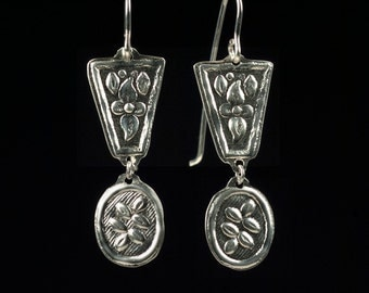 French Renaissance Historical Reproduction Sterling Silver Pendant Earrings