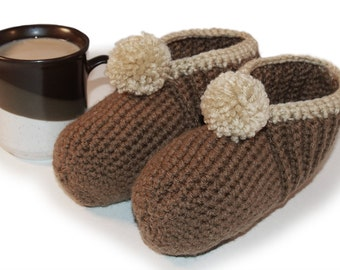 Morning Joe Crocheted Slippers - Coffee, Brown, Tan, Neutral, Cafe, Cappucino