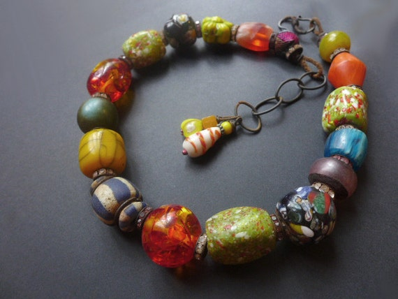 Light of Being. Thick, chunky colorful rustic tribal bollywood choker.
