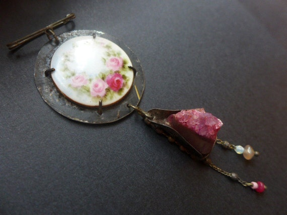 Master Passion. Victorian tribal assemblage dangle brooch with porcelain rose plate, rough agate and salvaged tin.