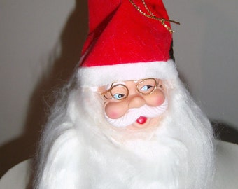 Santa Doll Head - Santa Doll Making Head - Wire Rim Glasses - Long Hair and Beard - Santa Doll Crafting - Doll Making Supply