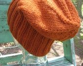 Knit Slouchy Beanie Hat in Rust Mens or Womens Classic Style Watch Cap Hipster Handmade Noggin Warmer Adult Size Ready to Ship