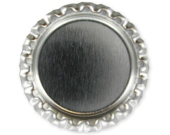 100 Flattened flat Chrome Linerless Silver Bottle Cap - Silver Crowns - No liners - Without liners - 1 inch 25mm circles