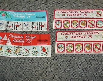 4--Vintage Sheets--Christmas--Wildlife STAMPS--1974--1975--And 2 Sheets of 1978--All Unused--National Wildlife Federation