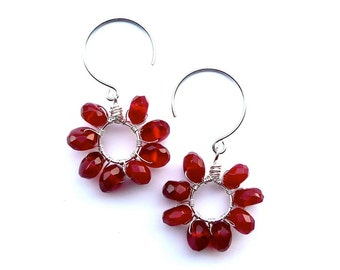 Cranberry -- Red Wirewrapped Dangles with Facetted Quartz