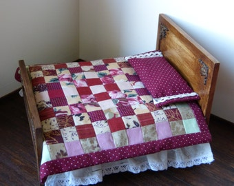 1: 12 scale dollhouse  miniature bedcover patchwork in  burgundy and dusty pink