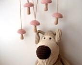 Woodland Nursery garland mushroom garland crochet felted decor toadstool pink beige baby shower gift woodland Birthday party decoration