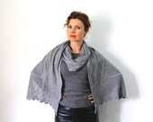 Knit Cashmere Shawl Grey Lace Scarf Cowl Christmas Gift