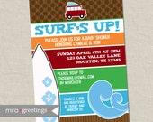 Surf Baby Shower Invitation - Hawaiian Baby Shower Invite - Aloha - Retro surf board baby shower - gender neutral (Printable digital File)