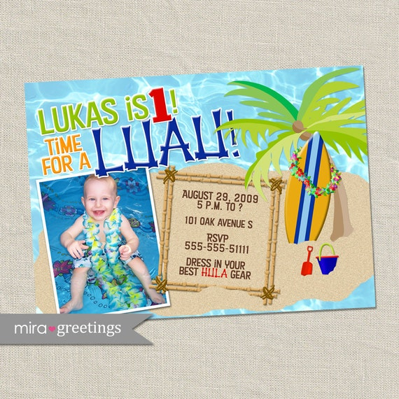 Luau Birthday Party Invitation - Boy Invite with Surfboard, Palm Tree, Sand, Pool (Printable Digital File)