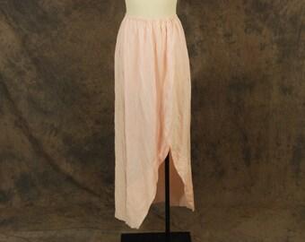 CLEARANCE vintage 80s Maxi Skirt - Avant Garde Pink Skirt - 1980s Hi Lo Skirt Sz M