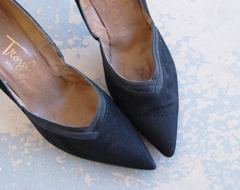 vintage 50s High Heels - 1950s Black Suede Stiletto Shoes Sz 7.5 38