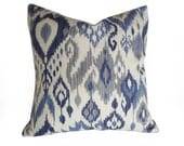 Blue Ikat Pillows, Navy Blue, Grey Gray, Cream White, Modern Pillow Cover, Contemporary Decorative Throw Pillows, 18x18, 20x20