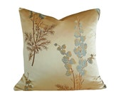 Tan Blue Silk Pillows,  Luxury Throw Pillows, Tan Blue Gold Leaves Ferns Flowers, Unique Contemporary Cushions, Lumbar 12x18, 18, 20, 22
