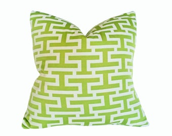 Green Geometric Pillow Cover, Green Throw Pillow, Green White Pillow, 18x18, Altered Greek Key, Graphic Pillow, Green Cushion Cover, SALE