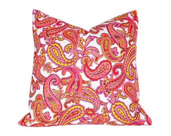 Girls Paisley Pillows, Unique Pink Pillow Cover, Orange Yellow Cushion Covers, Retro Vintage Style, 18x18, Eclectic Decor