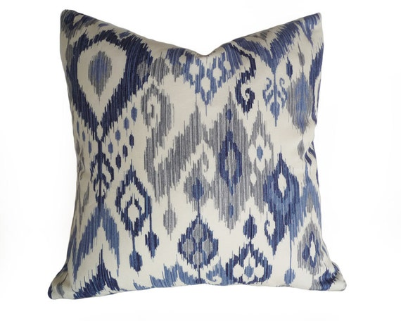 Navy Blue Decorative Bed Pillows: Blue Ikat Pillows Navy Blue Grey Gray Cream White Modern