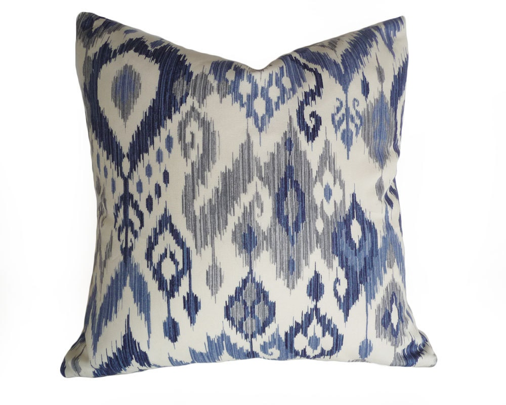 Small Gray Decorative Pillow : Blue White Ikat Pillows Coastal Pillow Covers 12x18 Lumbar