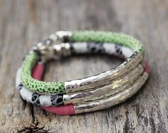 Leather Hill Tribe Bangle Bracelet, Hammered Silver, Eco Friendly Bright Lime Green, Black & White, Pink Modern Safari Mod Stacking Bracelet
