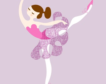 "8X10"" ballerina arabesque giclée print on fine art paper. light violet, vivid lilac, purple, dark brunette."