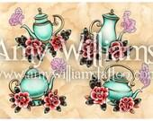 Four Turquoise Teapots Tattoo Art A4 Print