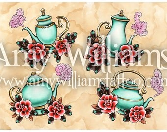 Four Turquoise Teapots Tattoo Art A4 Print