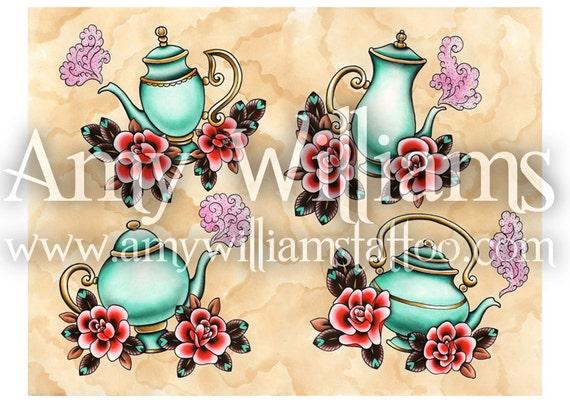 Four Turquoise Teapots Tattoo Art A3 Print