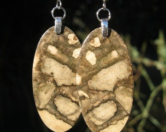 Ultra Limited Edition Winter Woodland Camo Spalted Hackberry Wood Earrings