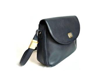 SOPHIE French VIntage 80s Dark Blue Leather Satchel