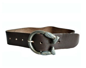 French Vintage Rustic Leather Belt