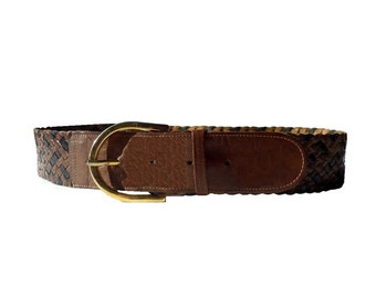 TRESSE French Vintage Black and Brown Woven Leather Belt