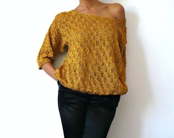 French Vintage 60s Hand Knit Golden Blouse