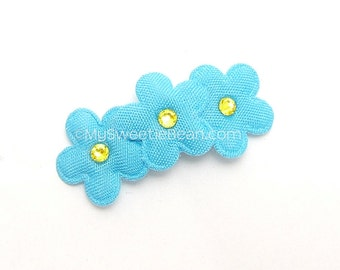 Forget Me Not Barrette, Blue Flower Clip, Flower Barrette, Baby Barrette, Toddler Girls, Yellow, Turquoise Blue Forget Me Not, 3ft