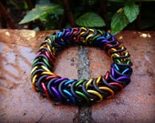 Size MEDIUM Box Weave Rainbow Chainmaille Bracelet With Black Neoprene Stretch Rings - Saw Cut Anodized Aluminum Rings - Chainmail - Maille