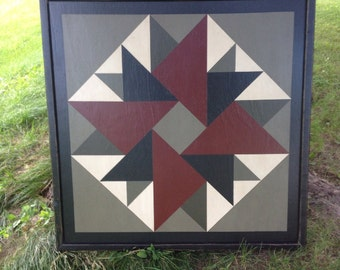 PriMiTiVe Hand-Painted Barn Quilt - 3' x 3' Double Aster Pattern (Old Mill Version)