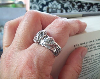 winged skull wraps your finger fine silver artisan hand crafted ring