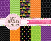 Halloween Cupcakes Digital Paper Pack Polka Dots and Chevron Stripes INSTANT DOWNLOAD