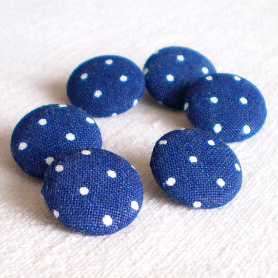 Fabric Buttons, Dark Blue and White Polka Dots, 6 Small or Medium Sized Fabric Covered Buttons, Navy Blue Buttons, Sewing Knitting, Quilting