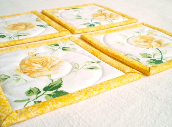 Quilted Fabric Coaster - Yellow Roses - Four of Reversible Patchwork Mini Quilts Candle Mat Set - Yellow, Green and White