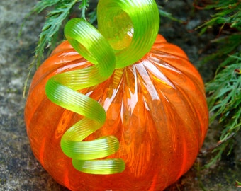 Hand blown glass Pumpkin - Transparent Orange with Lime green optic stem - Glass Garden Art