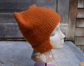 Ear Flap Cat Hat in Rusty color. Chunky Knit Fall Fashion