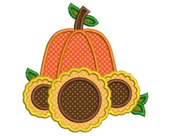 Applique Pumpkin Sunflower Fall Autumn Thanksgiving Halloween Embroidery Designs 4X4 and 5X7 Included - Instant Download Sale