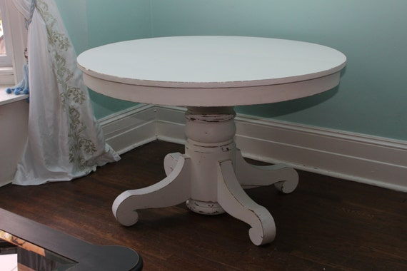 Custom order antique dining table white distressed shabby chic - White pedestal kitchen table ...